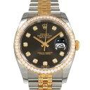 ロレックス ROLEX デイトジャスト 116243G 10Pダイヤ/ブラック文字盤 メンズ 腕時計 【新品】