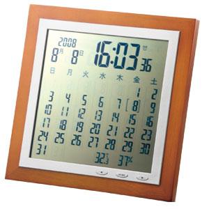 大きな表示で見やすい カレンダー電波時計
