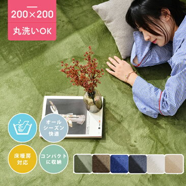 ラグ 洗える 200X200 ラグマット 北欧 シャギーラグ ホットカーペット対応 無地 ウォッシャブル 絨毯 じゅうたん リビング 床暖房対応 寝室 スマホ タブレット マイクロファイバー 安い