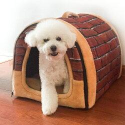 ペットハウスペットハウスドーム型レンガ柄犬小屋猫用ハウスペットベッド2way犬ハウスクッション室内屋内防寒保温(Mサイズ)