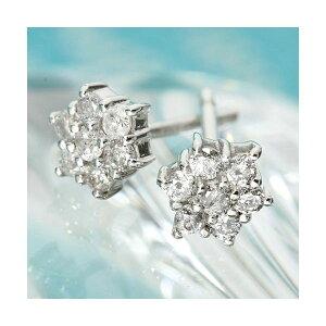 K18WG7スターダイヤモンドピアス(ホワイトゴールド)1919529(ファッションピアスイヤリング天然石ダイヤモンド)