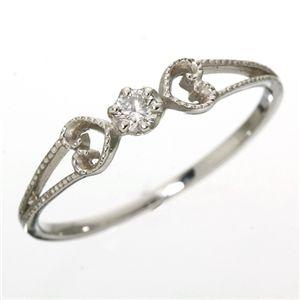 K18WGアンティーク調ダイヤリング指輪7号(ファッションリング指輪天然石ダイヤモンド)