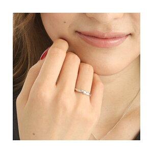 0.05ctピンクダイヤリング指輪ウェーブ15号(ファッションリング指輪天然石ダイヤモンド)