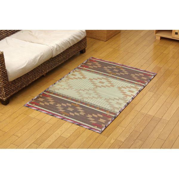 ふっくらい草マット ルームマット ラグマット 『キリムNF』 ブラウン 約90×130cm 長方形