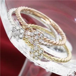 K14ホワイトゴールドダイヤリング指輪13号(ファッションリング指輪天然石ダイヤモンド)