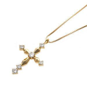 【鑑別書付】K18イエローゴールド天然ダイヤネックレスダイヤモンドペンダント/ネックレス0.10ctクロスモチーフ(ファッションネックレスペンダント天然石ダイヤモンド)