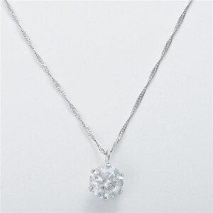 K18WG0.7ctダイヤモンドペンダント/ネックレススクリューチェーン(鑑定書付き)(ファッションネックレスペンダント天然石ダイヤモンド)