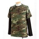 ドライクール ナイス カモフラ半袖 Tシャツ&ロング Tシャツ2枚 セット( 迷彩) ウッドランド M