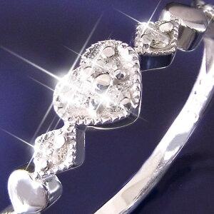 ハートダイヤリング指輪セブンストーンリング13号(ファッションリング指輪天然石ダイヤモンド)