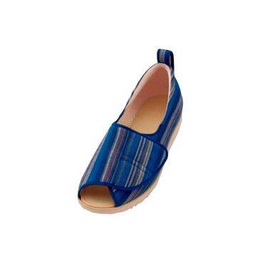 介護靴 施設・院内用 オープン和(なごみ) 1026 片足 徳武産業 あゆみシリーズ /LL (24.0〜24.5cm) 青(縞) 左足