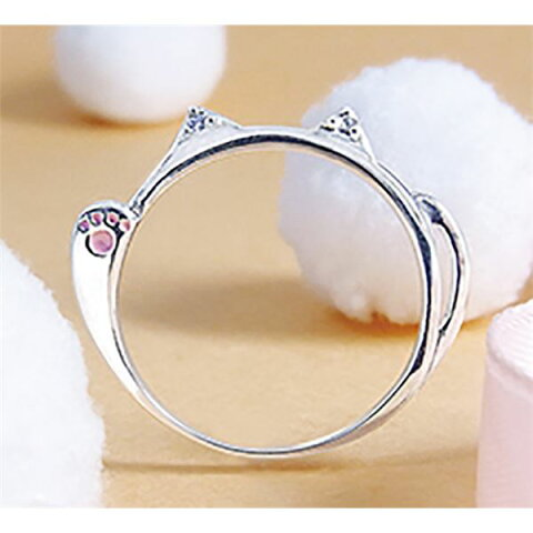 ダイヤモンド招き猫リング/指輪 【19号】 シルバー925 ダイヤモンド約0.02ct 日本製 国産