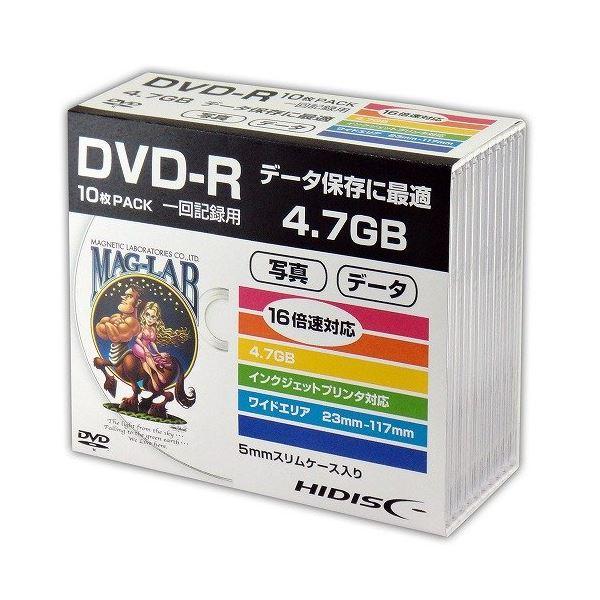 (まとめ)HIDISC DVD-R データ用5mmスリムケース10P HDDR47JNP10SC
