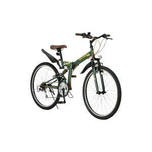 【送料無料】折りたたみ自転車 26インチ/オリーブ シマノ18段変速 ブロックタイヤ 【Raychell】 レイチェル R-314N (カテゴリー:生活用品>インテリア>雑貨>自転車(シティーサイクル)>折り畳み自転車 ) デザインと機能性の両立。ミリタリーテイスト折り畳み自転車 生活用品 インテリア 雑貨 自転車(シティーサイクル) 折り畳み自転車