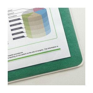 (まとめ)TANOSEE再生透明オレフィンデスクマットダブル(下敷付)600×450mmグリーン1枚【×5セット】(生活用品インテリア雑貨文具オフィス用品デスクマット)