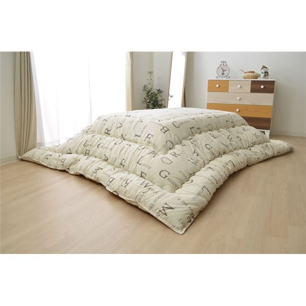 こたつ布団 長方形 掛け単品 インド綿 アイボリー 約205×245cm 乳白色