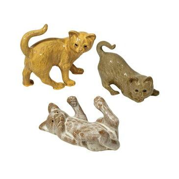 【3点×1セット】 陶製ガーデンオーナメント/園芸用品 【ネコタイプ 長さ29cm】 イタリア製 やんちゃな猫 『ストローファーム』