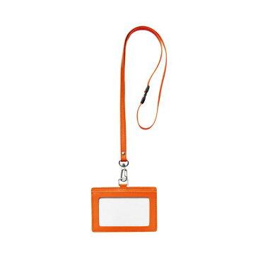 (まとめ) フロント 本革製ネームカードホルダー ヨコ型 ストラップ付 オレンジ RLNH-E-O 1個 【×5セット】