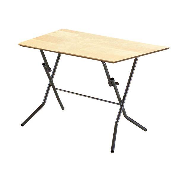 折りたたみテーブル 机 【幅90cm ナチュラル×ブラック】 日本製 国産 木製 金属 スチール パイプ 黒