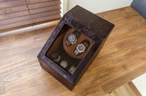 【送料無料】ワインディングマシーン(時計用収納ボックス)ブラウン【1台】合成皮革/合皮マブチモーター使用【完成品】茶(カテゴリー:ファッション>腕時計>メンズ(男性))