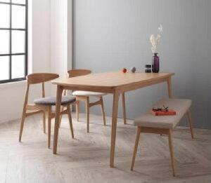 【送料無料】4点セット(テーブル+チェア2脚+ベンチ1脚)北欧デザイナーズダイニングセットコーネル(CH33)(テーブル幅W150)(チェアカラーチャコールグレイ)(ベンチカラーベージュ)イス椅子
