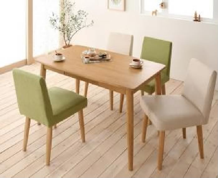 天然木タモ無垢材ダイニング ユニカ 5点セット(テーブル+チェア4脚) (テーブル幅 W115)(テーブルカラー ブラウン)(チェアカラー アイボリー2脚+レッド2脚) イス 椅子 赤 茶 白:夢の小屋
