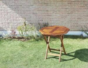 【送料無料】テーブルチーク天然木折りたたみ式本格派リビングガーデンファニチャーフォーン(八角形)(テーブル幅W70)(テーブル幅W70)