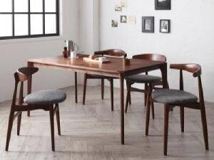 【送料無料】5点セット(テーブル+チェア4脚)北欧デザイナーズダイニングセットシュプリメイト(エルボーチェア・CH33ミックス)(テーブル幅W150)(カラー【A】チャコール【B】アイボリー)イス椅子白
