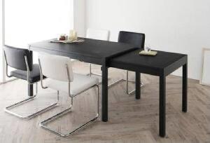 【送料無料】5点セット(テーブル+チェア4脚)スライド伸縮テーブルダイニングブレイド(テーブル幅W135-235)(【テーブルカラー】ブラック)(【チェアカラー】ホワイト)イス椅子黒白