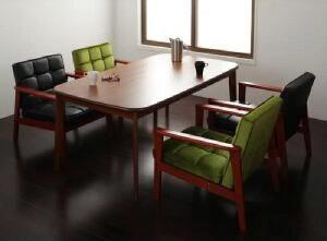 【送料無料】5点セット(テーブル+1Pソファ4脚)ソファ&ダイニングセットダーニー(テーブル幅W160)(ソファカラーミックス)