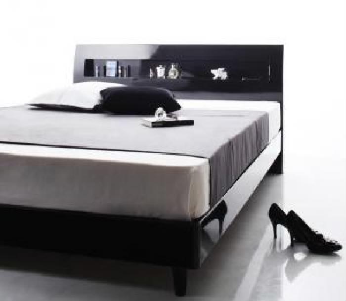 シングルベッド 黒 すのこ 蒸れにくく 通気性が良い ベッド スタンダードポケットコイルマットレス付き セット 鏡面光沢仕上げ 棚・コンセント付きモダンデザインすのこ ベッド( 幅 :シングル)( 奥行 :レギュラー)( フレーム色 : アーバンブラック 黒 )( マッ