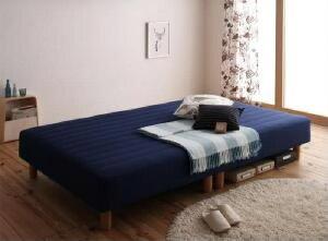 【送料無料】マットレスベッド新・色・寝心地が選べる!20色カバーリングマットレスベッド(国産ポケットコイルマットレスタイプ)(幅サイズセミダブル)(奥行サイズレギュラー)(脚の長さ15cm)(カラーミッドナイトブルー)青