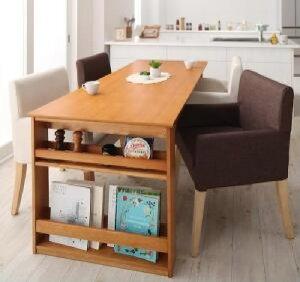 【送料無料】5点セット(テーブル+チェア4脚)三段階伸縮式シェルフ付きダイニングセットディナックス(テーブル幅W120-180)(チェアカラーブラウン2脚+アイボリー2脚)イス椅子茶白