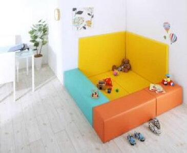 プレイマット 7点セット 法人様必見。子供に安全 安心 のコーナー型キッズ プレイマット( マット部分サイズ :155×155)( ラグ・マット色 : オレンジ )( フロアマット2枚+イス3枚+壁面マット2枚 )