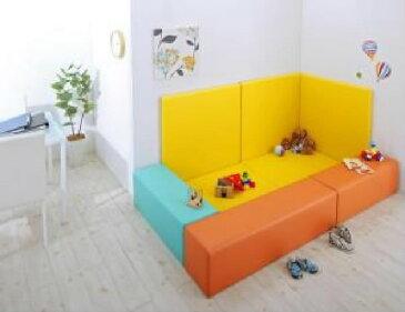 プレイマット 8点セット 法人様必見。子供に安全 安心 のコーナー型キッズ プレイマット( マット部分サイズ :215×125)( ラグ・マット色 : オレンジ )( フロアマット2枚+イス3枚+壁面マット3枚 )