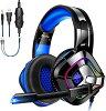 【重低音強化 高音質 軽量】ゲーミングヘッドセット ps4 ヘッドホン カラフルなLED...