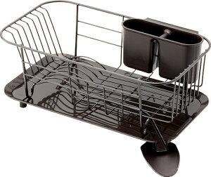 【送料無料】スタイリッシュな水切りできる皿立て  スチール製ディッシュハンガー WOODEウーデ スリムタイプ  【ブラウン】