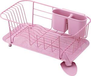 【送料無料】スタイリッシュな水切りできる皿立て  スチール製ディッシュハンガー WOODEウーデ スリムタイプ  【ピンク】