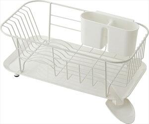 【送料無料】スタイリッシュな水切りできる皿立て  スチール製ディッシュハンガー WOODEウーデ スリムタイプ  【ホワイト】
