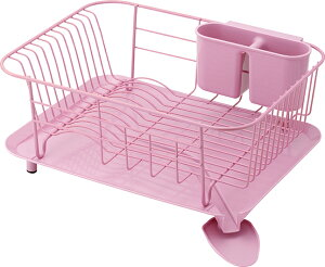 【送料無料】スタイリッシュな水切りできる皿立て  スチール製ディッシュハンガー WOODEウーデ 【ピンク】
