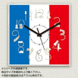 MYCLO(マイクロ) 壁掛け時計 アクリル素材(クリア) 四角 23cm 猫(ネコ)×国旗(フランス/FRANCE) com1194  【abt-1572774】【APIs】
