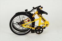 HUMMER FDB20R (イエロー)【送料無料】 送料込 自転車 人気  折りたたみ 折り畳み 2重ロック クロスバイク シティバイク 持ち運び ポータブル