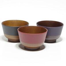 日本伝統色羽反塗分汁椀3点セット(漆黒・古代朱・茄子紺)