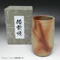 【送料無料】備前焼緋襷(ひだすき)フリーカップ(相馬美鶴/作)【作家作品】340-002