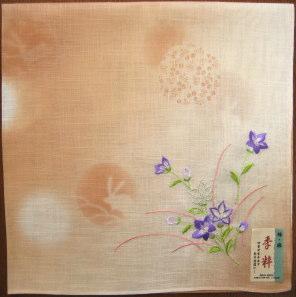 季粋(きすい) 桔梗 れんがいろ和柄 ハンカチ 桔梗 秋の七草 刺繍 大判 敬老の日
