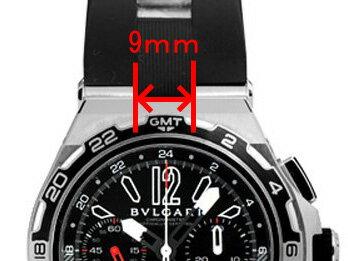 「ブルガリ(BVLGARI)向け」輸入王オリジナル ディアゴノ DP45用 ベルト ラバー ブラック 26mm 社外品 メンズ 腕時計用