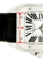 「サントス100向け」輸入王オリジナルベルト社外品型押しクロコXL,LM,クロノグラフメンズカルティエ腕時計用