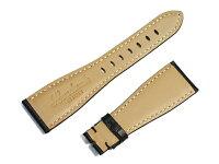 「ガガミラノGagaMilano向け」輸入王オリジナルマニュアーレ48mm用ベルト型押しクロコ社外品ブラックメンズ腕時計用