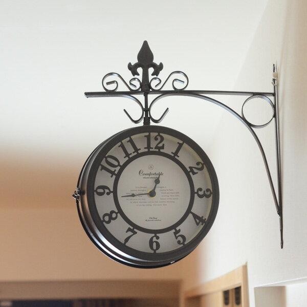 『アンティーク調壁掛け両面時計時計』(壁/時計/掛時計/かけ時計/クロック/両面時計/アンティーク/レトロ/見やすい/おしゃれ)【MTB006】