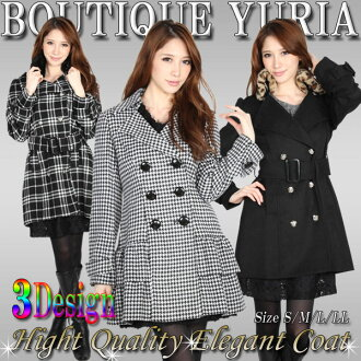 Leading luxury coat winter winter fashionable celebrity style fashionable design wool mixed beauty appearance design coat S/M/L/LL staggered pattern & black & check pattern trend coat women's response