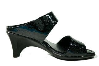 05P05Nov16日本製ミュールレディースヘビ柄痛くない靴高級感ミュール黒レディースシューズヒール・革ミュール痛くない靴疲れない靴ミュールサンダル【送料無料】